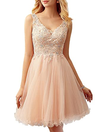 Womens Short V Neck Prom Dresses 2018 A Line Lace Homecoming Gowns Sleeveless Size 14 Champagne