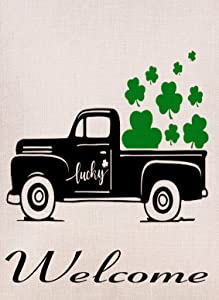 Selmad Home Decorative St Patricks Day Truck Small Garden Flag Lucky Double Sided, Burlap Shamrock Clover Welcome Quote Farm Pickup House Yard Decoration, Seasonal Outdoor Décor Flag 12.5 x 18 Spring