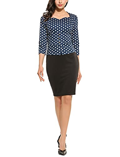 HOTOUCH Women's 3/4 Sleeve Polka Dot Wear to Work Business Bodycon One-Piece Dress