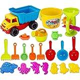 Jeux de Plage, iTECHOR 21 pièces Voitures et Camions jouets exterieur de sable avec sac de maille pour bébé enfants