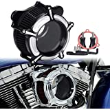Bid4ze Black&White Air Cleaner Filter with Glass Black Core Air Filter Air Cleaner For Harley Touring Street Glide Road King