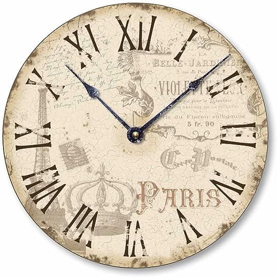 Fairy Freckles Studios Item C2039 Vintage Style Shabby Chic Paris Clock 12 Inch Diameter
