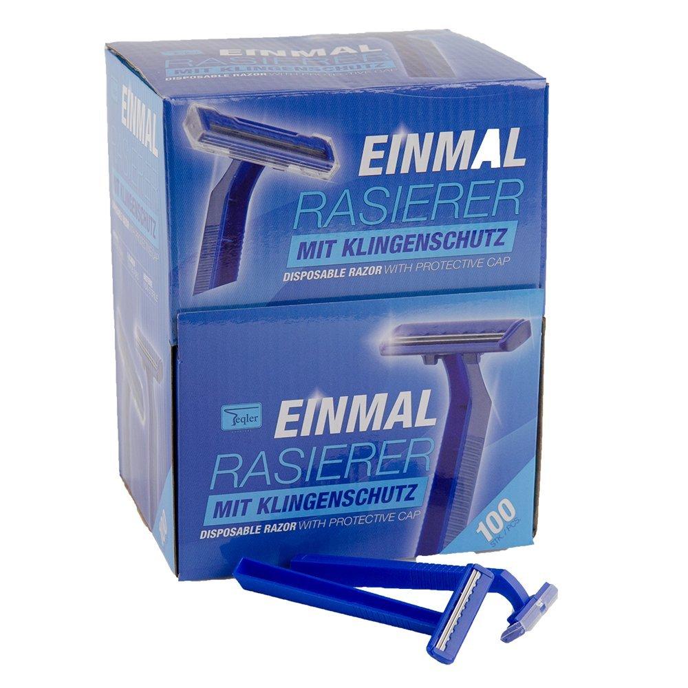 Teqler T-370650 Maquinillas desechables para cada longitud de pelo, cuidan la piel al afeitar, azul (100 uds. )