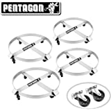 Pentagon 83-DT5492 Tool | Heavy Duty | 55-Gallon Drum Dolly | 4-Pack | Silver
