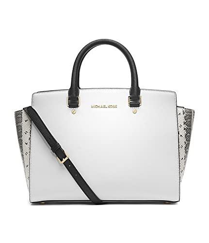 Amazon.com  MICHAEL Michael Kors Selma Large Satchel in White Black ... 1ee7d4aa22