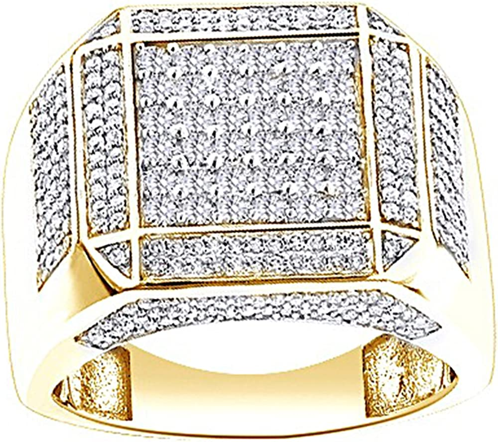 Wishrocks Round Cut Blue /& White Cubic Zirconia Mens Hip Hop Band Ring in 14K Gold Over Sterling Silver