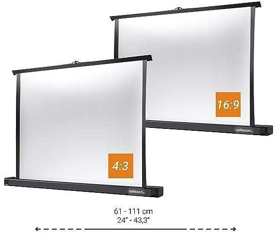 Gain 1,2 celexon Beamer-Tisch-Leinwand Mobil Professional Tragegriff 4:3 inkl 102 x 76 cm