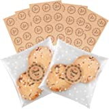 Self Adhesive Treat Bag Cellophane Cookie Bag Sealing Treat Bag White Polka Dot Party Favor Gift Bag with 60 Thank You Labels for Bakery, Candle, Soap, Cookie (3.9 x 3.9 inches, 100 Pcs)