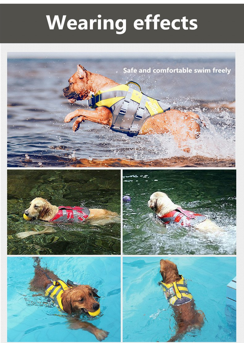 LIMARIO Dog Ripstop Life Vest Jacket for Water Safety (XL, Yellow)