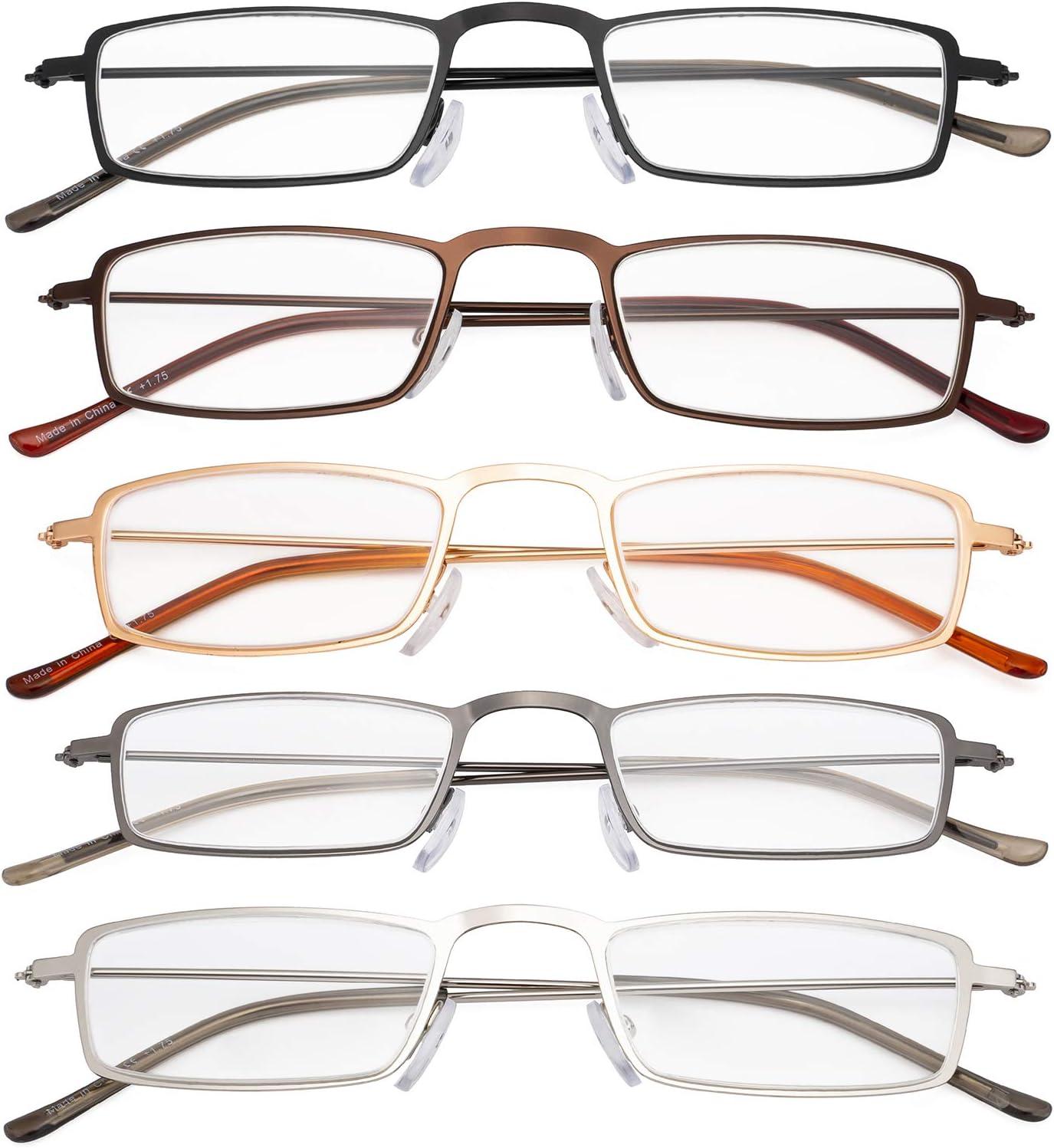 Eyekepper 5-Pack rostfrei Staal Frame Halb-Augen Stil Lesebrille Leser 0.5