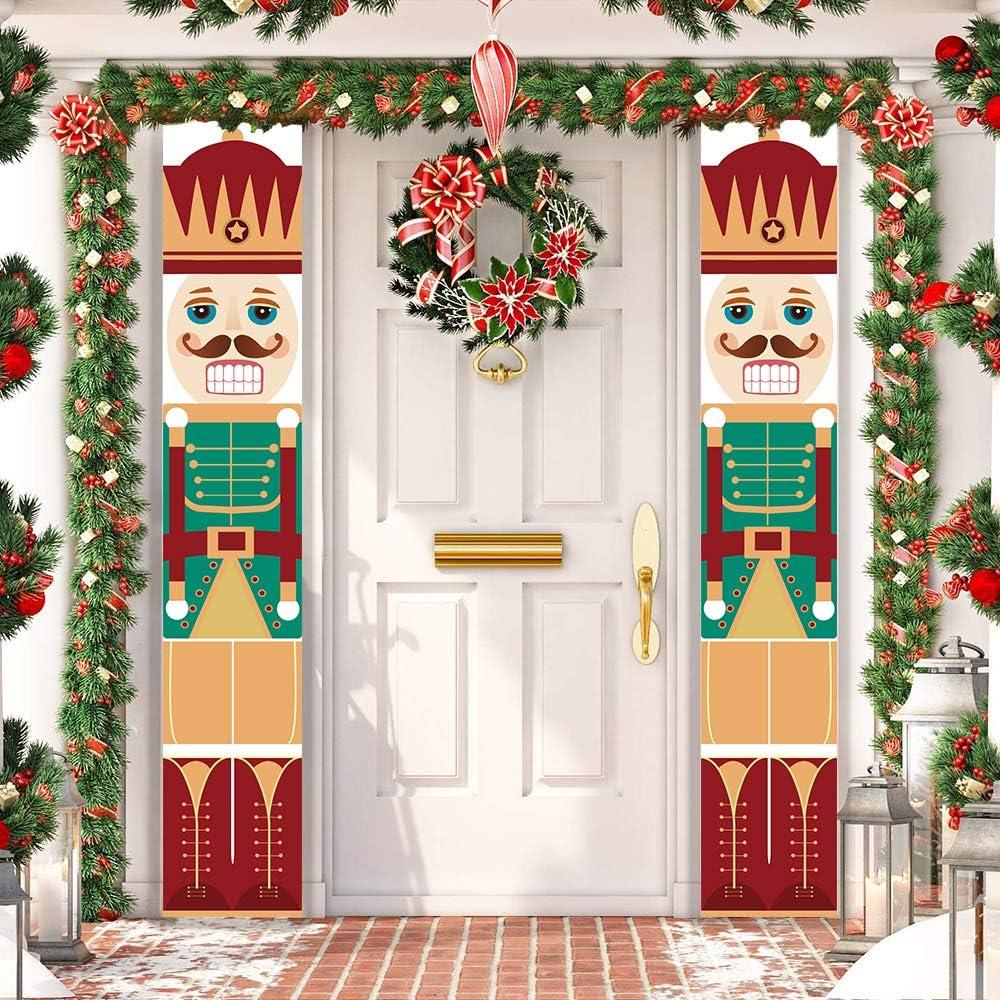 Trubetter Nutcracker Christmas Decorations - Outdoor Xmas Decor - Soldier Model Nutcracker Banners for Front Door Porch Garden Indoor Exterior Kids Party (Orange)