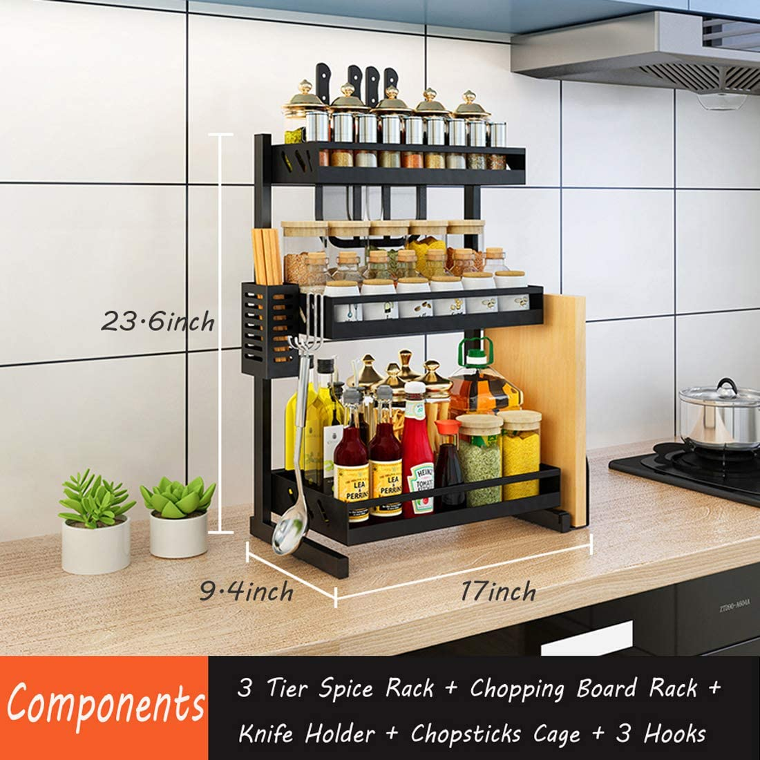 Ctystallove 3 Tier Metal Kitchen Spice Rack Countertop Standing Corner Shelf Removable Seasoning Organizer Jars Bottle Storage Knife Utensils Holder with 3 Hooks, Black