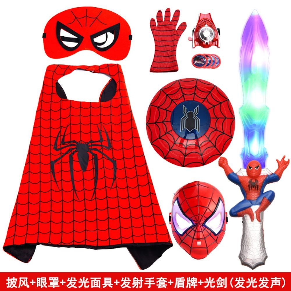 Course21  POIUYT Costume d'halFaibleeen pour Enfants Cosplay Costume Spider-Man Cape du Poignet Laque Rougeoyante Masque Cape Cape Cape 70cm ChÂle,Package2