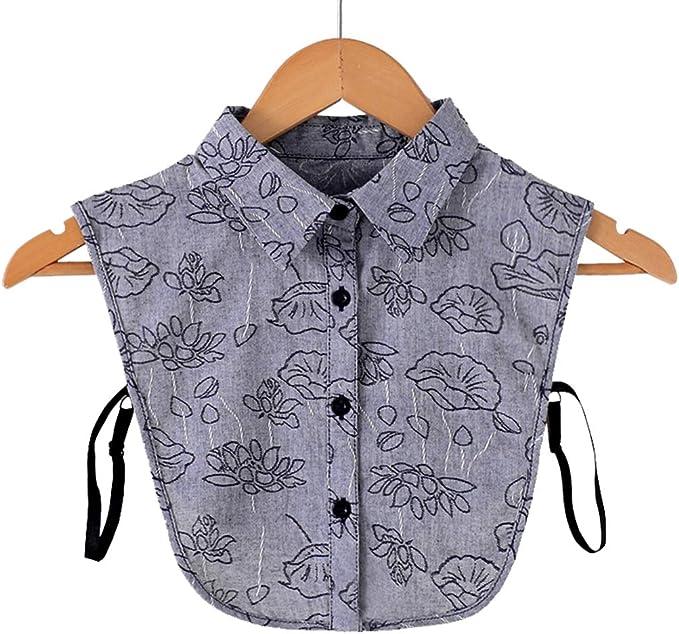 xian Mujeres Vintage Lotus bordado desmontable solapa media camisa algodón falso cuello: Amazon.es: Ropa y accesorios