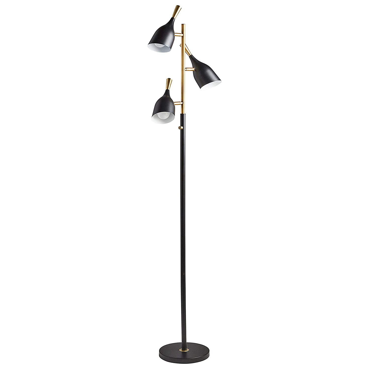 "Rivet Mid-Century Modern Task Lamp, 67""H, With Bulb, Matte Black & Brushed Steel Accents"
