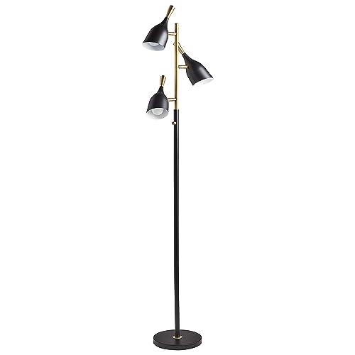 Rivet Mid-Century Modern Living Room Task Floor Lamp With 3 Light Bulbs – 10 x 17.5 x 67 Inches, Matte Black Brushed Steel