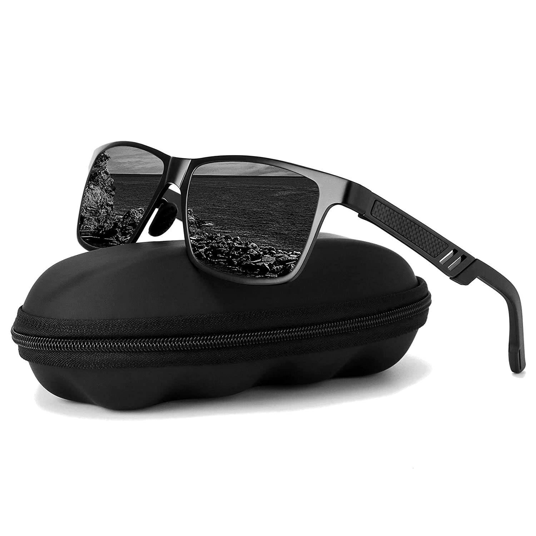 Black Black Polarized Driving Sunglasses For MenGOUDI Mens Women AlMg Metal Frame Lightweight Fishing 100% UV Sports Outdoors GD8003