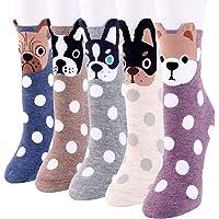 Bakicey Gebreide sokken voor dames en meisjes, katoen, leuk cartoonpatroon, elastische sportsokken, korte sokken…