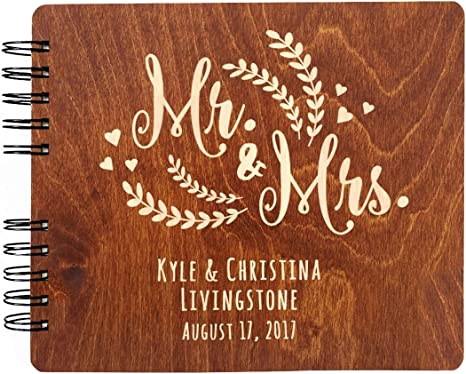 Customizable Brown Patterned 9 x 7 Inches Guest Book