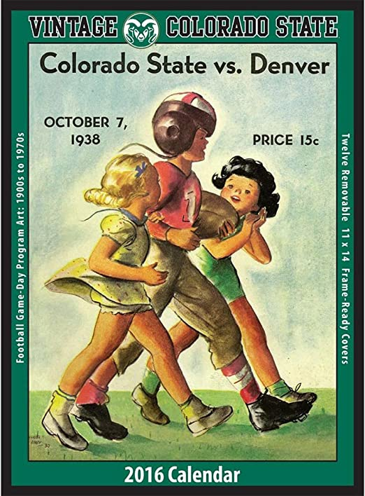 Vintage Colorado State Rams Football Poster Calendar By Asgard Press Office Products
