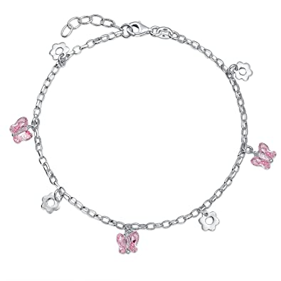 8756b2a2924 Image Unavailable. Image not available for. Color  Multi Pink Butterfly  Crystal Flower Anklet Dangle Charm Ankle Bracelet 925 Sterling Silver ...