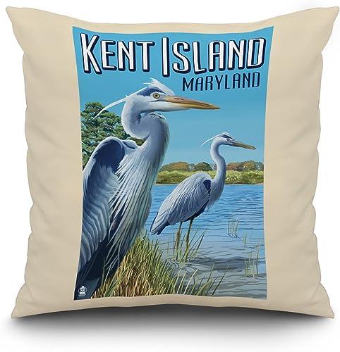 Kent Island, Maryland – Blue Heron 20×20 Spun Polyester Pillow, White Border