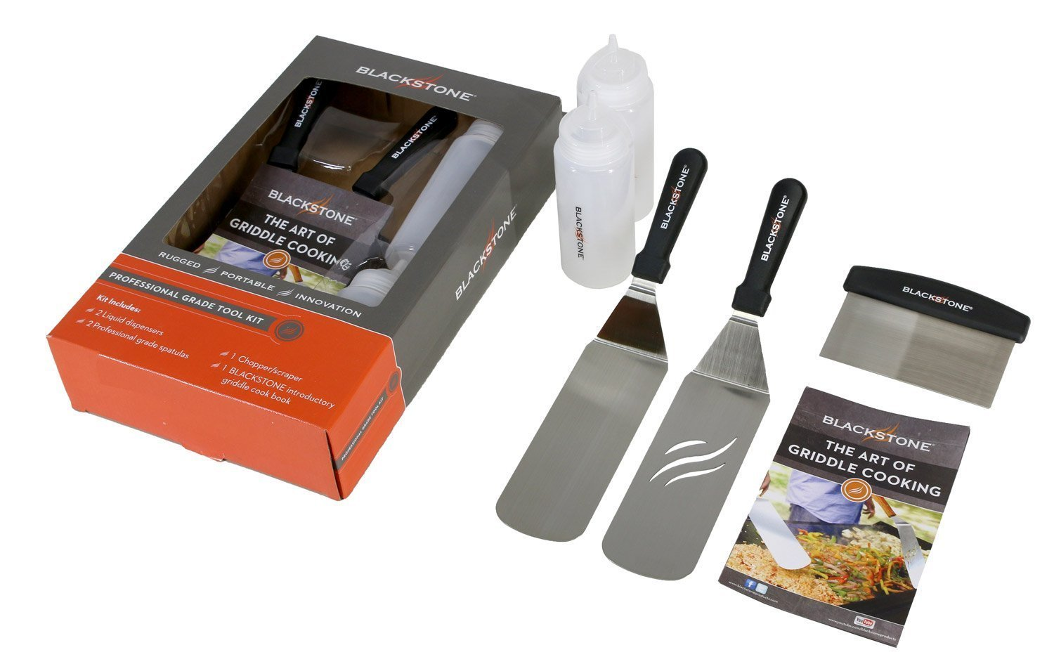 Blackstone 1542 5 Piece Professional Grade Grill Griddle BBQ Tool Kit with FREE Recipe Book - 2 Spatulas, 1 Chopper Scrapper and 2 Bottles - Great for Flat Top Cooking, Camping and Tailgating