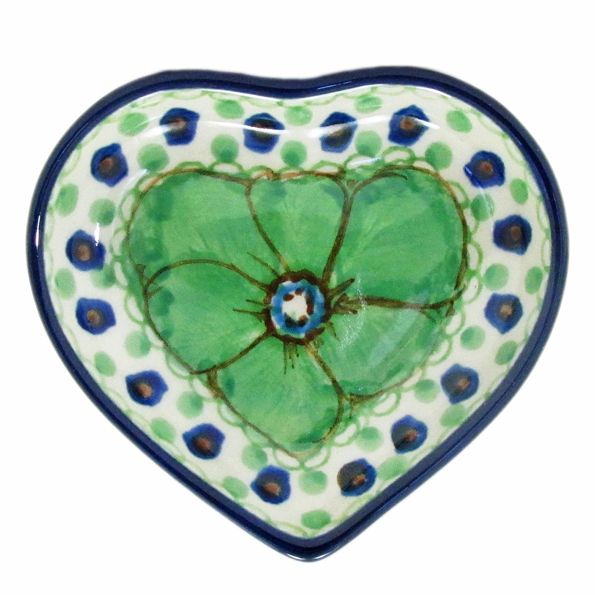 Polish Pottery 3'' Heart Dish Handmade Poland Signature Limited Edition Pattern B64-408A