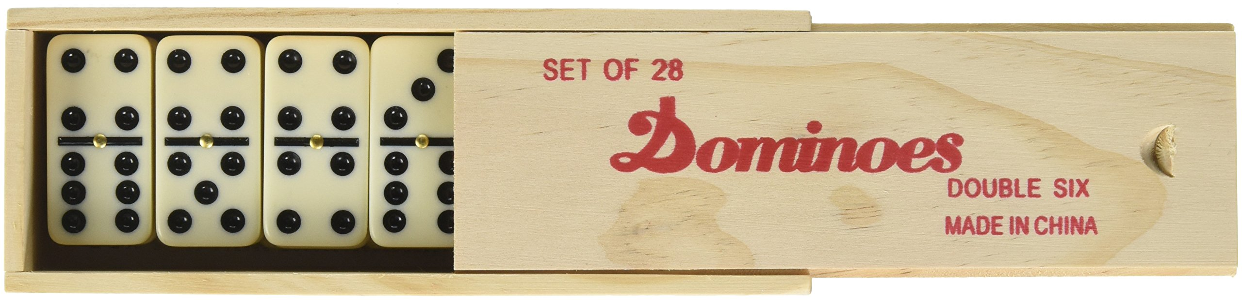 Double 6 Professional Domino Tiles with Spinner in Wooden Box by CHH