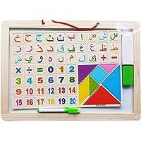 3 في 1 سبورة الرسم التعليمي العربي والسبورة السوداء للأطفال مع الحروف الهجائية والأرقام المغناطيسية حجم وسط