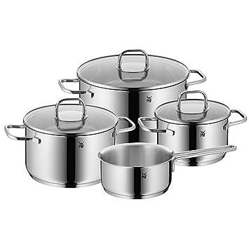 Superior WMF Pot Set 4 Piece Inspiration Pouring Rim Glass Lid Cromargan® Stainless  Steel Polished Design