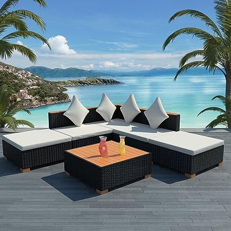 Tidyard Conjunto Muebles de Jardín de Ratán 15 Piezas Sofa Jardin Exterior Sofas Exterior para Jardín Terraza Patio en Ratán Sintético y WPC Negro y Marrón(Combinable de Diferentes Formas): Amazon.es: Hogar