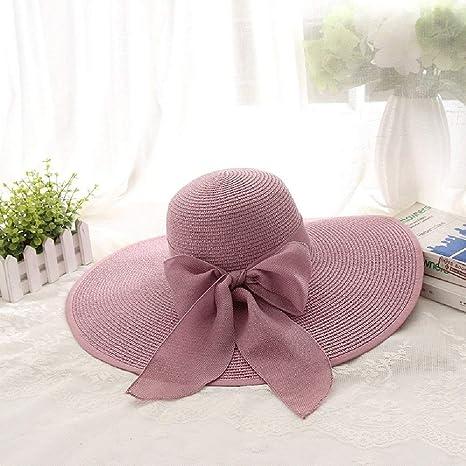 HhGold Sombrero de Playa Sombreros de Playa de Verano para Mujeres Sombrero  de Paja de protección 53bda20eeba