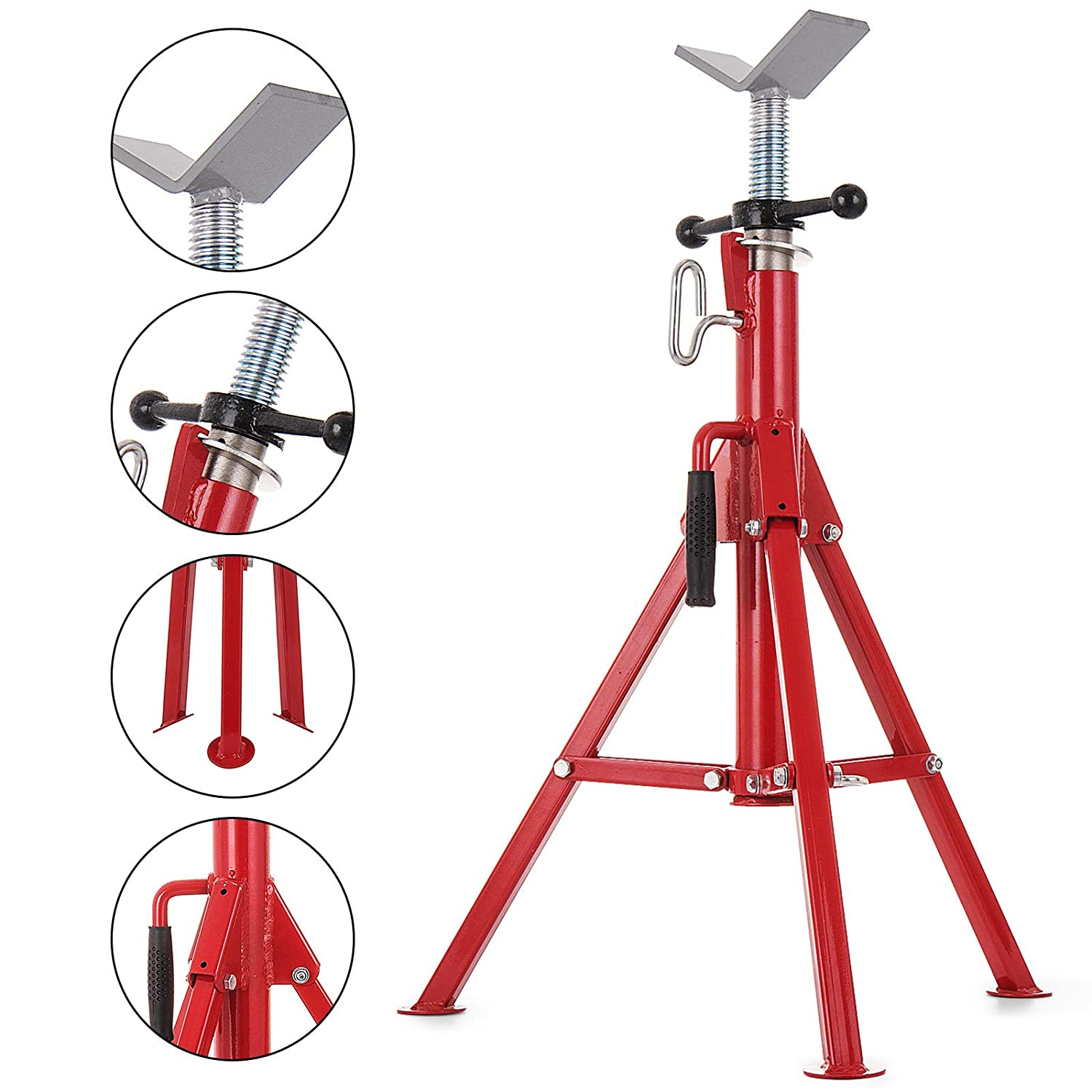 Pipe Jack Stands >> Mophorn 1 2 12 V Head Pipe Stand Adjustable Height 28 52 Inch Pipe