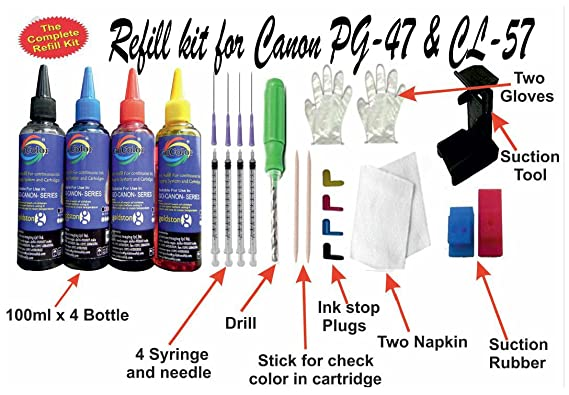 GoColor The Complete Refill kit for Canon PG 47  amp; CL 57  100 ml X 4 Color Bottle  amp; Complete Accessories Stamps   Stamp Supplies