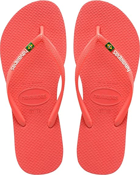 85a97fa70  Havaianas Slim Brasil Logo Coral Womens Summer Flip Flops  Amazon.co.uk   Shoes   Bags