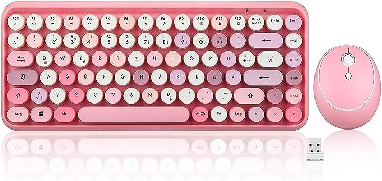 Perixx Periduo-713 QWERTZ - Juego de teclado y ratón inalámbricos (tamaño mini, diseño retro vintage, color rosa