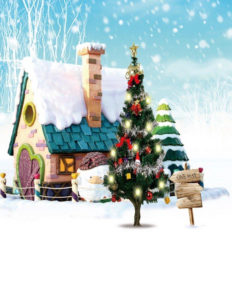 A Monamourクリスマス冬ホワイト雪アウトドア雪だるまBlue Skyパインツリー風景写真の背景幕5 x 7ftビニール – Road Sign Pine Tree House雪   B01N90G94S