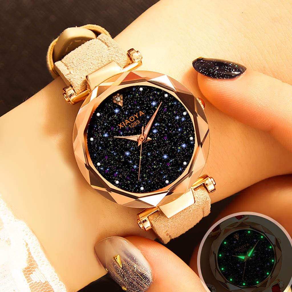 Fashion Crystal Luxury Brand Women Watches 2019 Rose Gold Ladies Wrist Watch Quartz Dress Wristwatch (Beige)