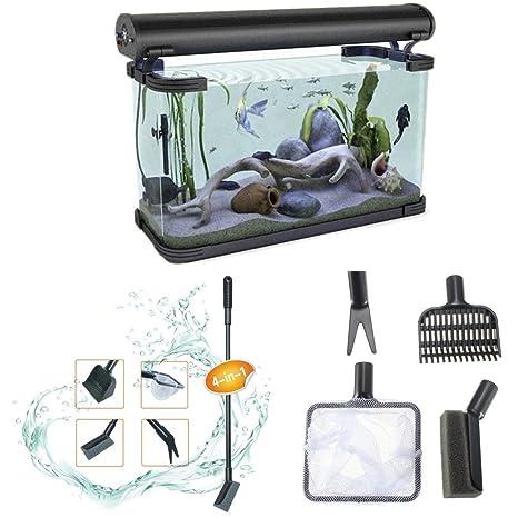 Calli 4 en 1 acuario filete de pescado rastrillo caja de herramientas herramienta del cuidado de