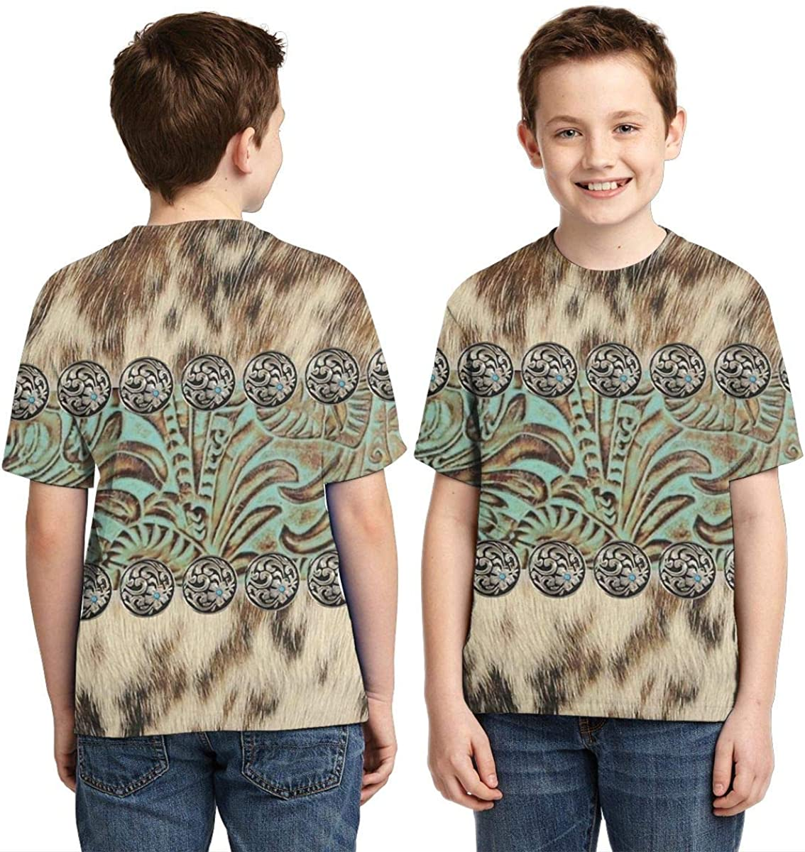 OPQH Boys Short Sleeve Rustic Brown Teal Western Country Tooled Leather 3D Printed T-Shirts Summer Cool Youth Kids Tees