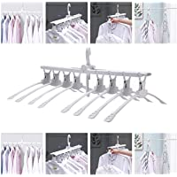 TS WITH TECHSUN 8 in 1 Multi-Function Collapsible Folding Clothes Magic 360 Degrees Can Rotate Space Saving Clothes Hanger Rack for Multiple Clothes, T-Shirt and Dresses, Wardrobe Organizer