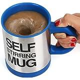 TRIXES selbstrührende Tasse Chrom und Blau der ultimative Tee Kaffee Becher für Couch-Potatoes Neuheit