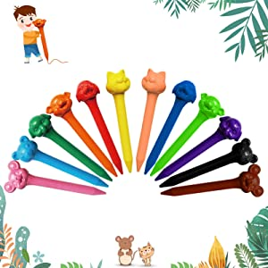 Bulk Crayon Set, 12 Colors Natural Non-Toxic Washable Crayons, School Supplies Gift for Kids, Animal Style Crayons, Christmas & Birthday Gift for Kids