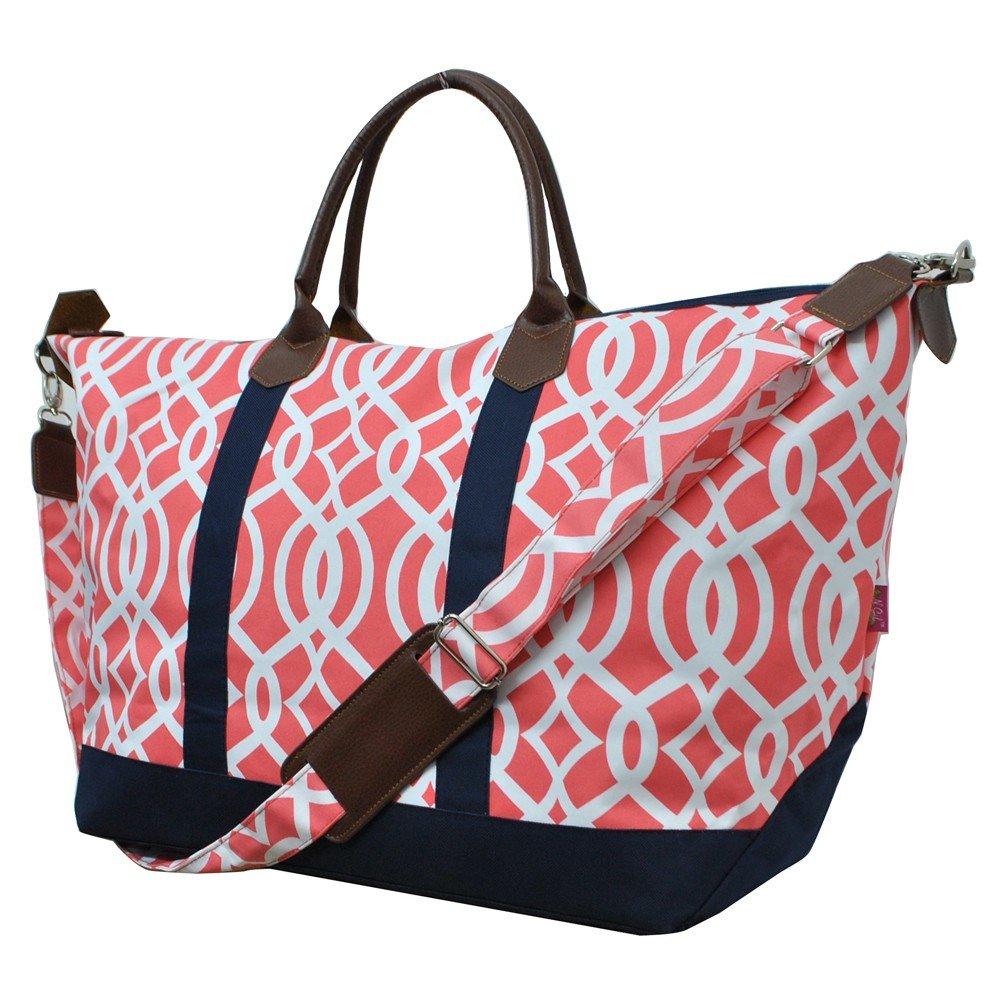 Geometric Vine Pattern Print Canvas Weekender Travel Overnight Bag