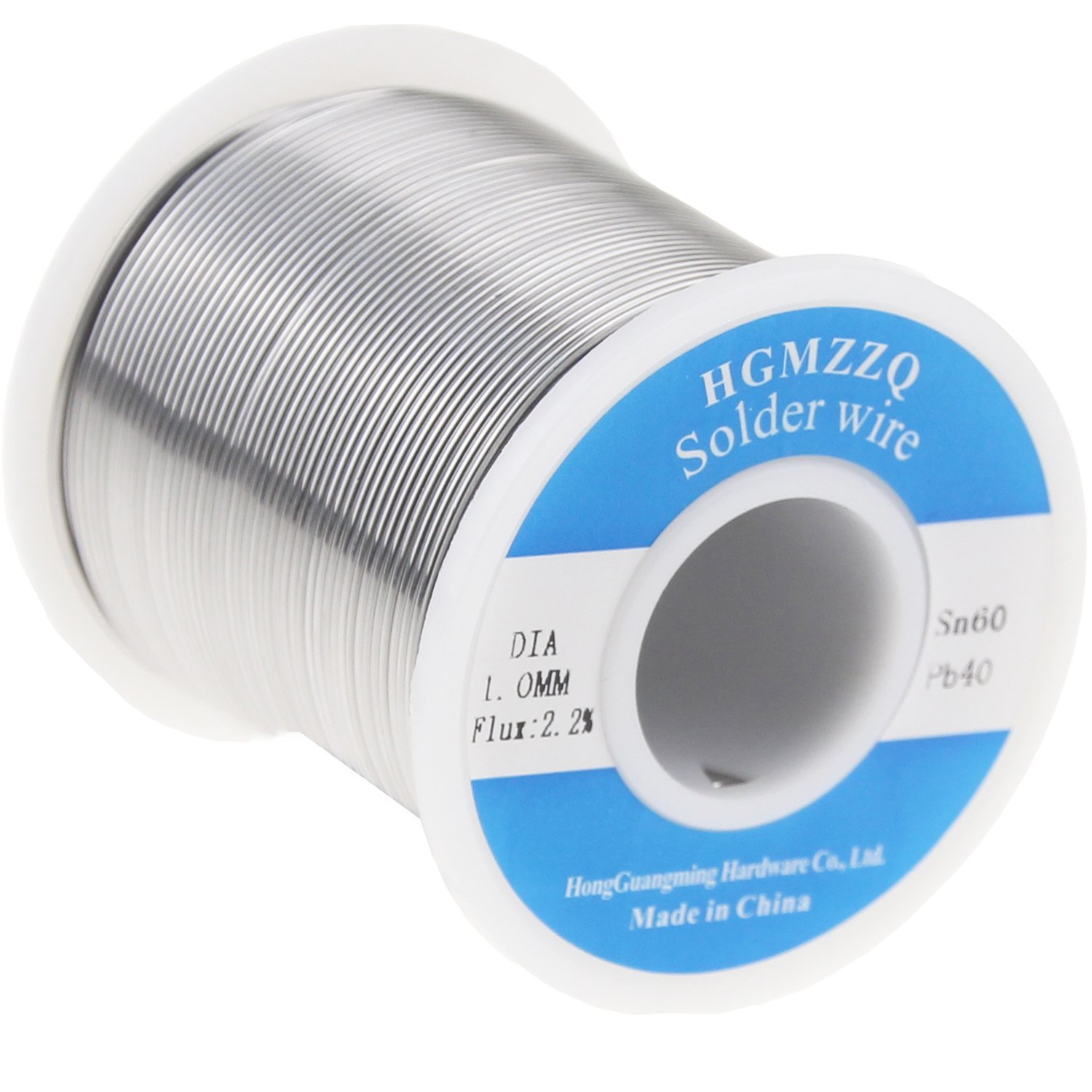 HGMZZQ 60/40 Tin Lead Solder Wire with Rosin for Electrical Soldering 0.039inch (1.0mm-1lb)