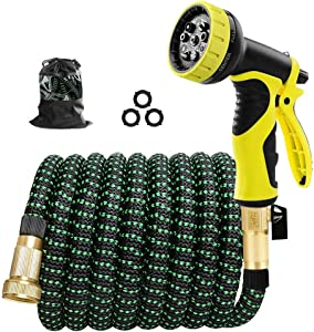 "Cootway Expandable Garden Hose 25ft with 9 Function Spray Nozzle, Durable Leakproof Lightweight Flexible Water Hose with Triple Layer Latex Core, 3/4"" Solid Brass Fittings,3750D Fabric No-Kink Hoses"