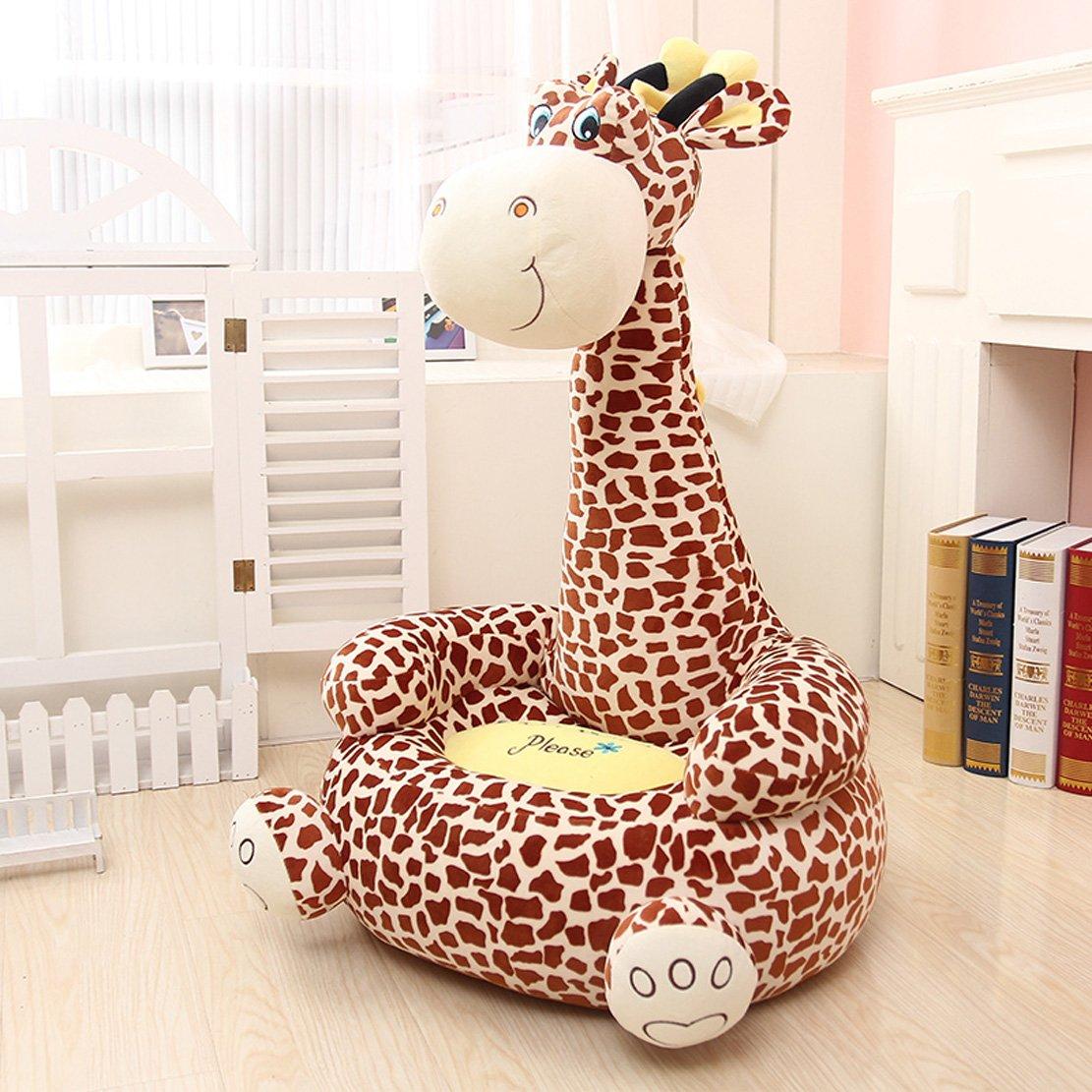 MAXYOYO Super Cute Plush Toy Bean Bag Chair Seat for Children,Cute Animal Plush Soft Sofa Seat,Cartoon Tatami Chairs,Birthday Gifts for Boys and Girls (brown giraffe)