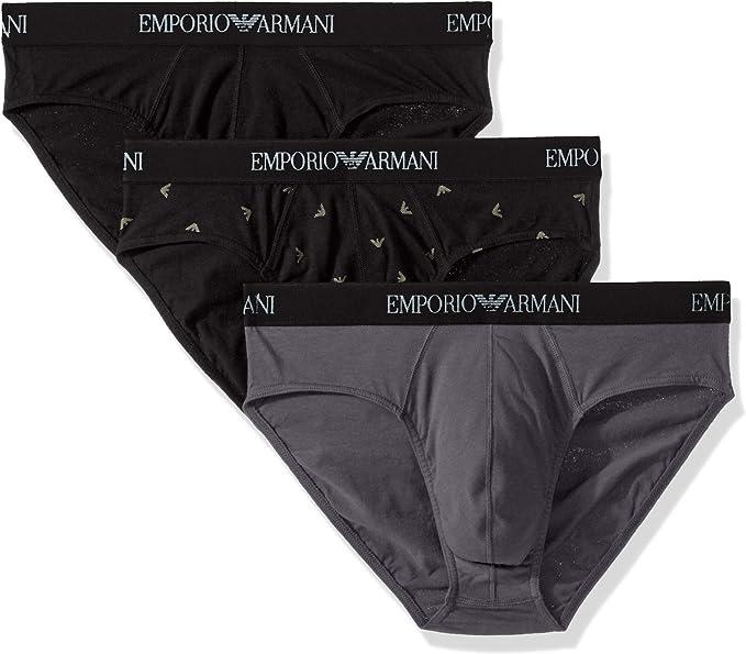Emporio Armani Confezione da 3 Slip Uomo Cotone Elasticizzato. L:  Amazon.it: Abbigliamento