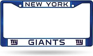 NFL Rico Industries Standard Chrome License Plate Frame, New York Giants - Blue